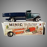 Vintage Tri-Ang Minic Toy - Delivery Lorry Wind Up Truck with Box