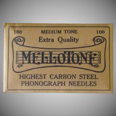 Vintage Steel Phonograph Needles - Mellotone 100 Medium Tone - Full Unopened Package