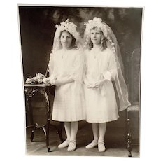 Vintage Large Format Photograph of Two Young Girls in Communion Dresses ca 1900