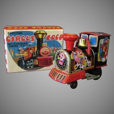 Vintage Tin Circus Loco Train – Old Friction Toy with Original Box