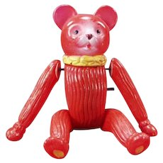 Vintage Celluloid Wind Up Tumbling Bear - Occupied Japan Toy
