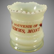 Vintage Heisey Custard Glassware - Old EAPG Toothpick - Montana Souvenir