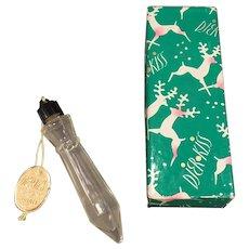 Vintage Djer-Kiss Icicle Perfume Bottle with Original Tag and Christmas Gift Box