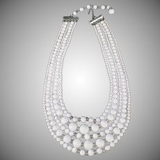 Vintage Five Strand Bead Necklace - White Glass Beads - Japan