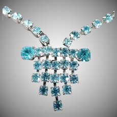 Vintage Art Deco Style Rhinestone Necklace - Vibrant Turquoise, Aquamarine Lavaliere