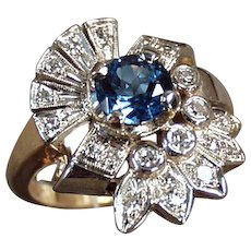 Ladies Vintage 14k Gold Cocktail Ring with Blue Topaz and Diamonds - Size 7+