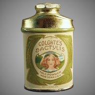 Vintage Colgate's Dactylis Sample Powder Talc Tin with Pretty Girl