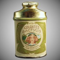 Vintage Colgate's Dactylis Sample Powder Talc Tin with Pretty Girl