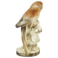 Vintage Ceramic Parakeet Bird in Brown Tones