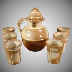 Vintage Frankoma Pottery Guernsey Juice Pitcher with Six Matching Cups