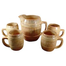 Vintage Five Piece Frankoma Pottery Barrel 65oz Pitcher with 4 Matching Mugs