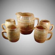 Vintage Five Piece Frankoma Pottery Barrel 65oz Pitcher with 4 Matching Mugs