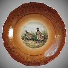 Vintage Bavarian Porcelain Bird Plate Charger - Quail Schumann, Germany