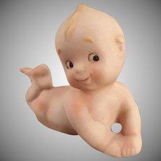 Vintage Porcelain Kewpie-Like Baby Lying on Stomach