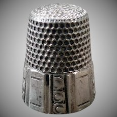 Vintage Size 10 Sterling Silver Sewing Thimble with Paneled Design - Waite Thresher