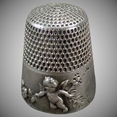 Vintage Sterling Silver Thimble - Simons Bros. with Cupid Design - 1905