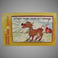 Vintage Puzzle Postcard - Fun Postcard Mailer with Silly Cow