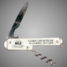 Vintage Julius Wile Advertising, Cameo Pen Knife with Corkscrew