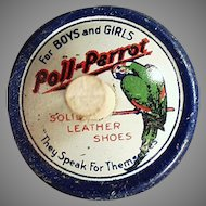 Vintage Poll-Parrot Shoes Spinning Tin Advertising Top