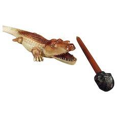 Vintage German Celluloid Alligator Letteropener with Black Boy Pencil