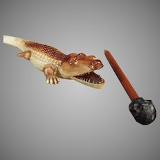 Vintage German Celluloid Alligator Letteropener with Black Boy Pencil