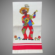 Vintage Pure Linen Decorative Art Mart Dish Towel - Black Memorabilia – Never Used
