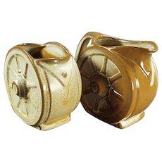 Vintage Frankoma Pottery Wagon Wheel Cream and Sugar Bowl - Ada Clay Desert Gold