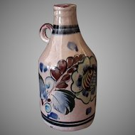 Vintage Tonala Mexican Pottery Handled Decanter Jug – Brown and Blue Tones
