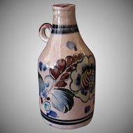 Vintage Tonala Mexican Pottery Handled Decanter Jug – Brown and Blue Tones