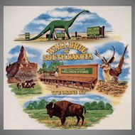 Vintage Wall Drug of South Dakota Souvenir - Dinosaur & Flying Jackalope Plate