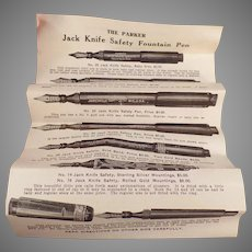 Vintage Parker Jack-Knife Safety Fountain Pen Box with Instructions