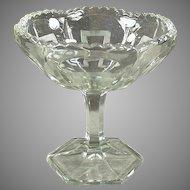 Vintage Pressed Glass Pedestal Compote Dish with Greek Key Design