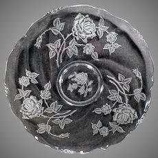 "Vintage Heisey Glassware – Rose Etch on Waverly Pattern 14"" Party Plate"
