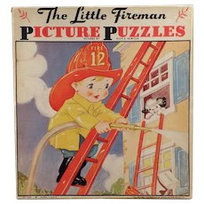Vintage Ruth E. Newton Picture Puzzle Set - Two Fireman Puzzles with Original Box
