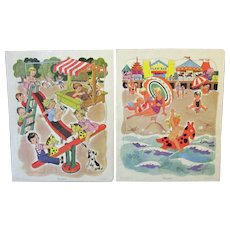 Two Vintage Picture Puzzles – 2 Playskool Tray Puzzles - Playground and Beach