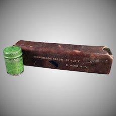 Vintage Razor Accessories - Weck's Razor Strop Dressing Tin and Razor Box
