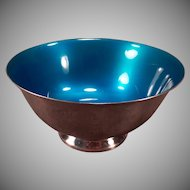 Vintage #102 Reed and Barton Silver Plate Blue Enamel Candy Bowl