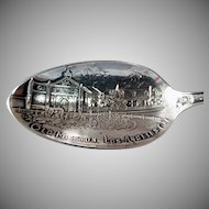 Vintage Sterling Silver Souvenir Spoon -  Los Angeles California Mission - Great Detail