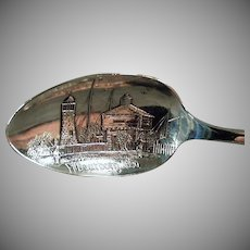 Vintage Sterling Silver Souvenir Spoon -  Fort Dearborn, Chicago