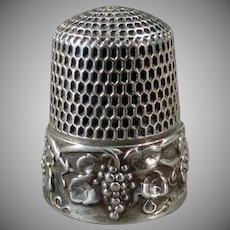 Vintage Sterling Silver Sewing Thimble - Ornate Grape Cluster Design - Simons Bros.