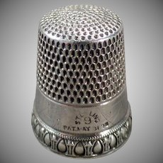 Vintage Sterling Silver Sewing Thimble - Simons Brothers Priscilla Pattern