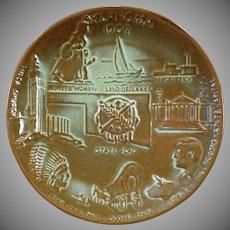 Vintage Frankoma Pottery Oklahoma Statehood Souvenir Wall Plate – Prairie Green