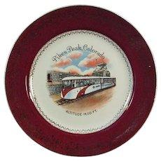 Vintage Pikes Peak Colorado Streamline Cog Train Souvenir Plate