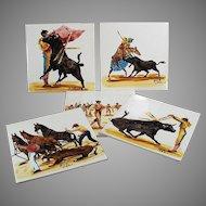 Set of 5 Vintage Art Tiles - Beautiful Bullfighting Scenes - Made in England