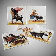 Set of 5 Vintage Art Tiles - Beautiful Bullfighting Scenes - Made in England