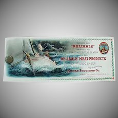 Vintage Celluloid Advertising Blotter - Old Reliable Meats with Sea Captain & Pigs