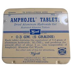 Vintage Amphojel Antacid Tablets Medicine Tin - Wyeth - Old Medical Advertising