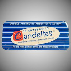 Vintage Medical Adertising Tin - Candettes Antibotic Troches