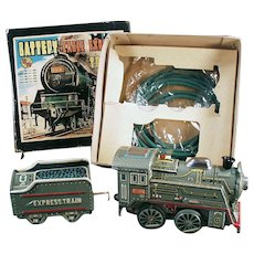 Vintage B.O. Toy Train Set with Original Box - Battery Cable Express Train