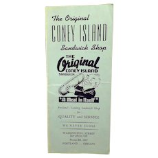 Vintage Original Coney Island Sandwich Shop of Portland, Oregon Restaurant Menu